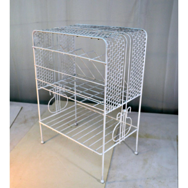 White 1960s Vintage Metal Music or Magazine Stand For Sale - Image 8 of 9