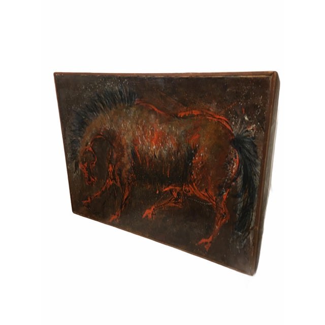 Beautiful mid-century oil on canvas abstract painting of a horse signed by the artist D. Rogers 1955. Features a wild...