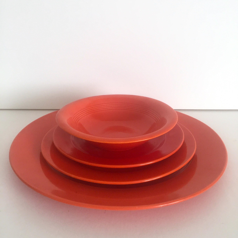 1930s Vintage Art Deco Homer Laughlin Harlequin Fiesta Radioactive Red Orange Dinnerware - 14 Piece Set & 1930s Vintage Art Deco Homer Laughlin Harlequin Fiesta Radioactive ...