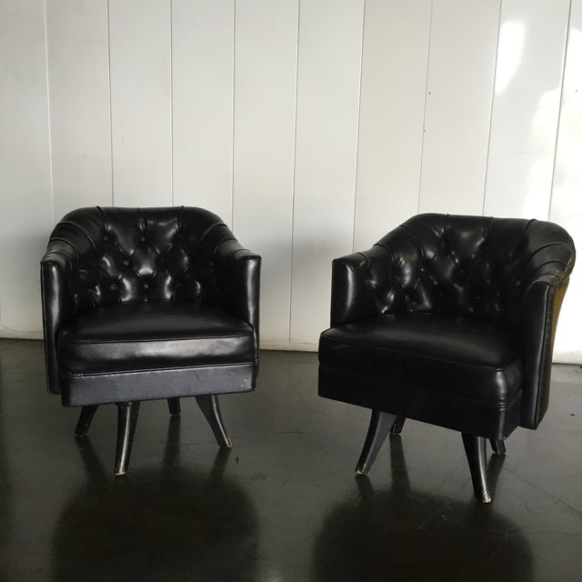 Monteverdi Style Mid-Century Tufted Chesterfield Swivel Chairs- A Pair - Image 2 of 7