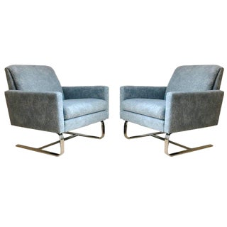 Cantilevered Floating Hollywood Regency Milo Baughman Lounge Club Chairs - a Pair