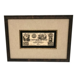 Antique Republic of Texas Fifty Dollar Currency Note For Sale