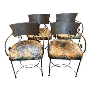 Italian Iron Chairs - Set of 4 For Sale