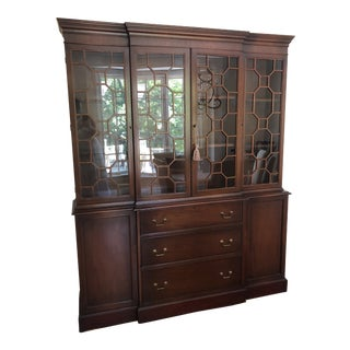 20th Century Traditional Breakfront Display Cabinet with Secretary Desk For Sale