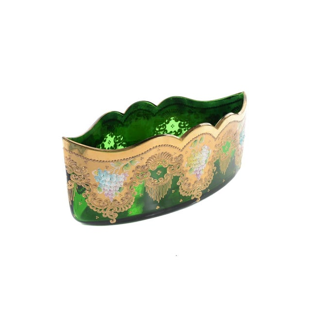 Moser Bohemian Emerald Green Glass Centerpiece - Image 6 of 9