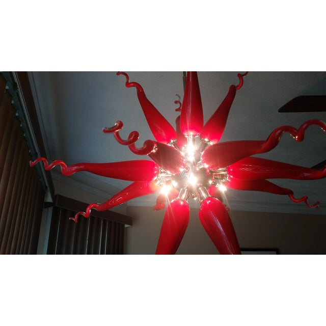 Beautiful Red Modern Blown Glass Chandelier - Image 6 of 7