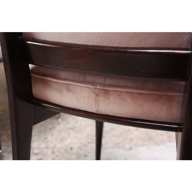 Set of Six Mid-Century Italian Dining Chairs With Nickel Sabots For Sale - Image 9 of 13