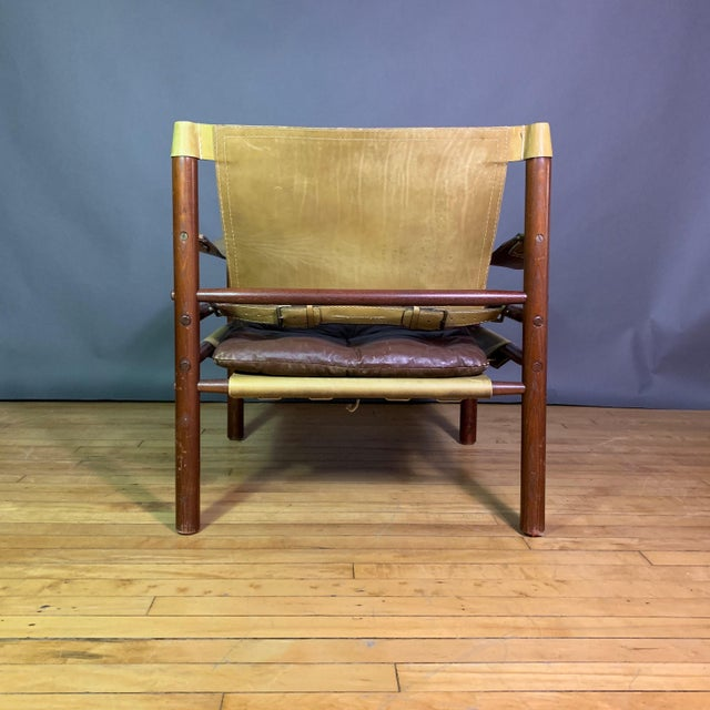 "Wood Arne Norell ""Sirocco"" Leather Safari Chair Sweden For Sale - Image 7 of 12"