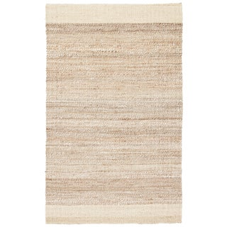 Jaipur Living Mallow Natural Bordered White/ Tan Area Rug - 9′ × 12′ For Sale