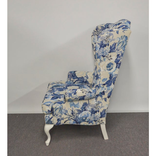 Vintage Duralee Linen Blue White Floral Wing Chair Chairish