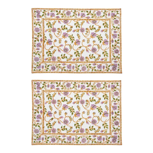 Gina Placemats Lilac & Green - A Pair For Sale