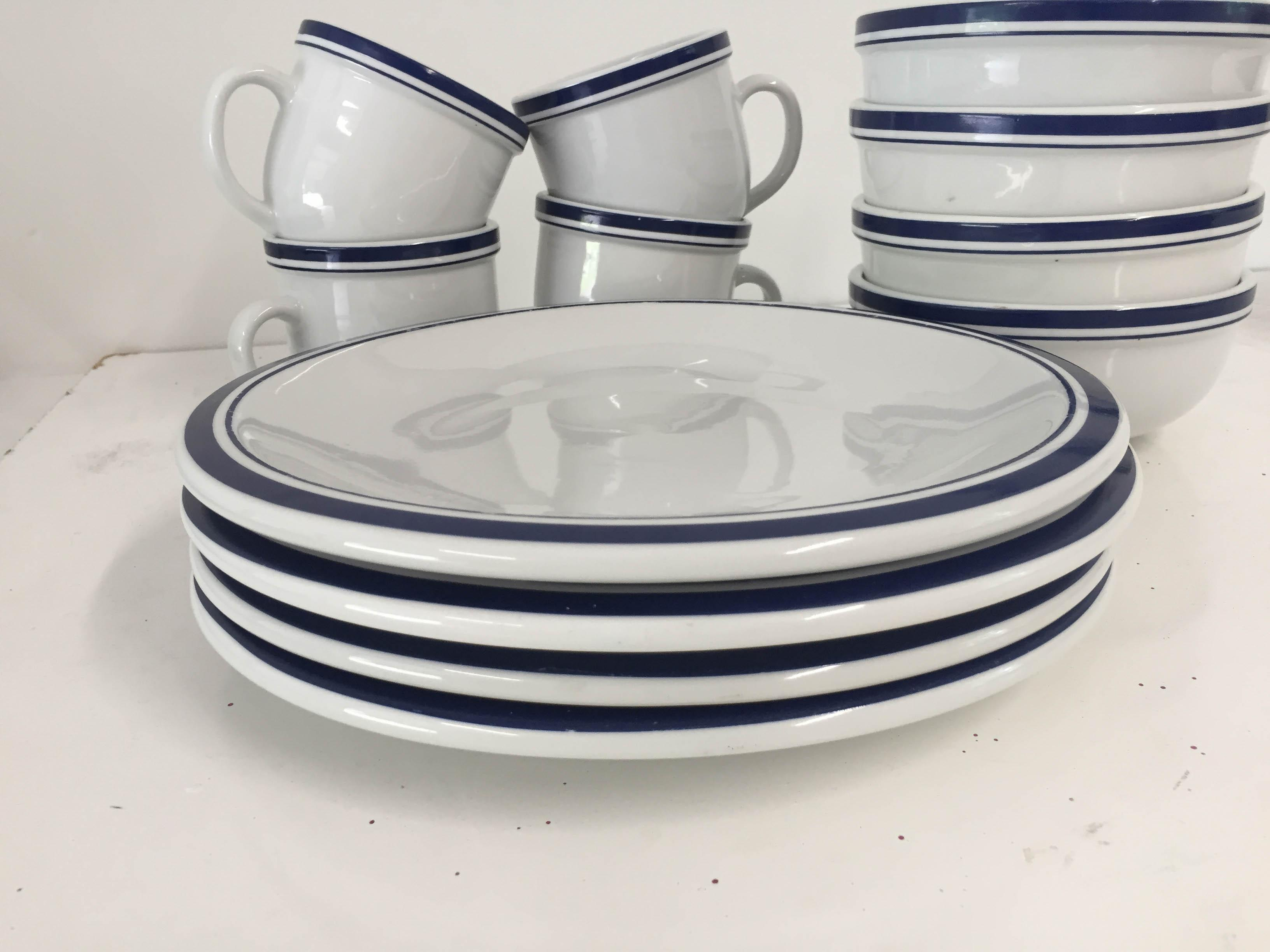 Culinary Arts Cafeware Nautical Blue u0026 White Dinnerware - Set of 12 - Image 4 of  sc 1 st  Chairish & Culinary Arts Cafeware Nautical Blue u0026 White Dinnerware - Set of 12 ...