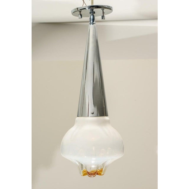 Mid-Century Modern Mazzega Murano Glass and Chrome Mid-Century Chandelier Pendant Lamp For Sale - Image 3 of 10