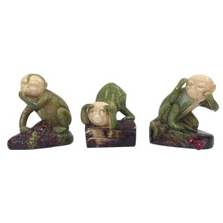 Vintage Wise Monkey Statues Majolica Pottery Style See Hear Speak No Evil Collection For Sale