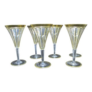 Early 20th Century Vintage Gold Gilt & Clear Champagne Wine Glasses- Set of 6 For Sale
