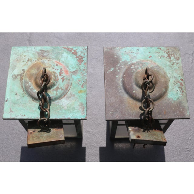 Vintage Weathered Copper and Glass Outdoor Hanging Lanterns - a Pair For Sale In Tampa - Image 6 of 10