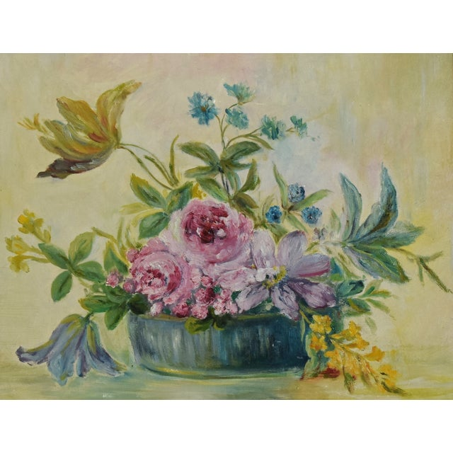 Early 20th Century Early 1900s Colorful Floral Tablescape Still Life Oil Painting For Sale - Image 5 of 9