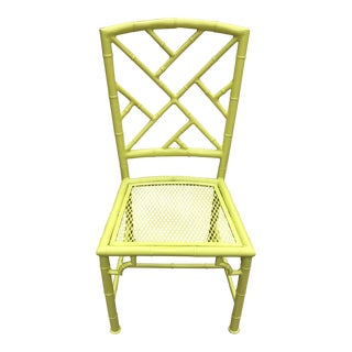 Vintage Mid Century Neon Citrine Faux Bamboo Garden Chair For Sale