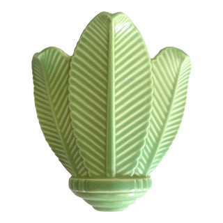 Vintage Mid Century Art Deco Pistachio Mint Green Art Pottery Palm Leaf Ceramic Wall Pocket Vase For Sale