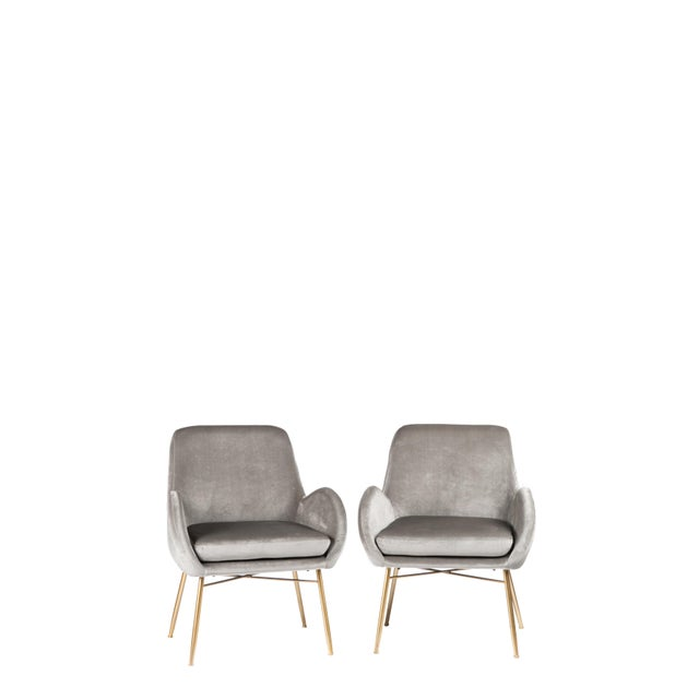 Gray New Modern Gray Velvet Armchair With Gold Legs and Pillows - a Pair For Sale - Image 8 of 11