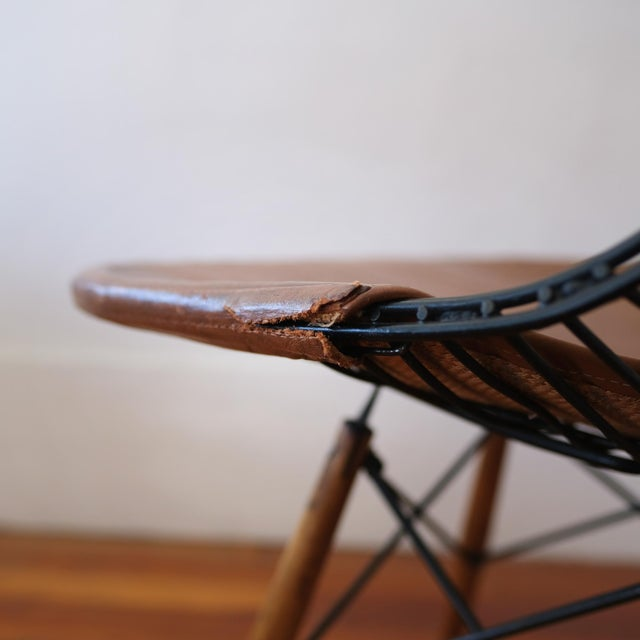 Eames Dkw-2 Dowel Wire Chair With Leather Bikini Cover For Sale - Image 12 of 13