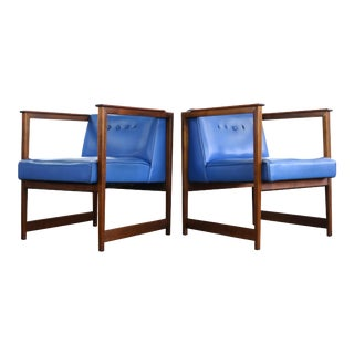 Set of two (2) Blue Lounge Chairs by Lawrence Peabody for Nemschoff For Sale