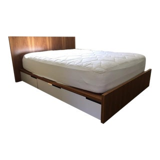 "Blu Dot ""Modu-Licious"" Walnut Full Size Storage Bed For Sale"