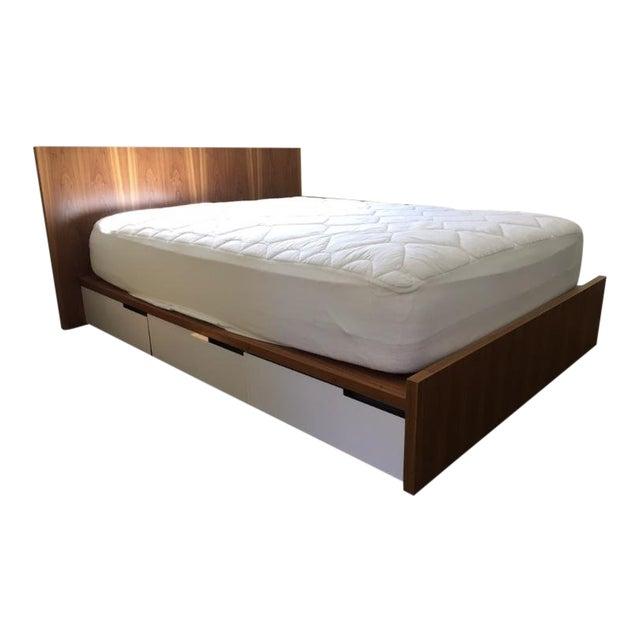 "Blu Dot ""Modu-Licious"" Walnut Full Size Storage Bed For Sale"