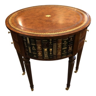 Round Leather Wrapped Book Motife Center or Side Table For Sale