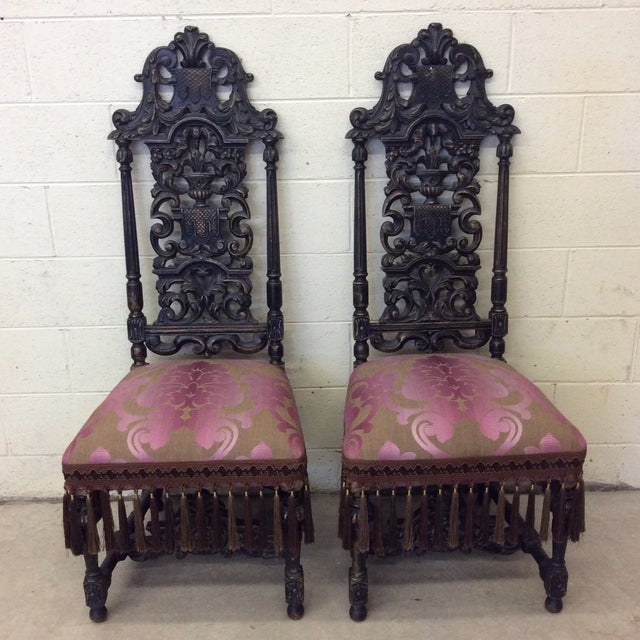 Carved Mahogany Jacobean Style High Back Chairs-A Pair For Sale - Image 13 of 13