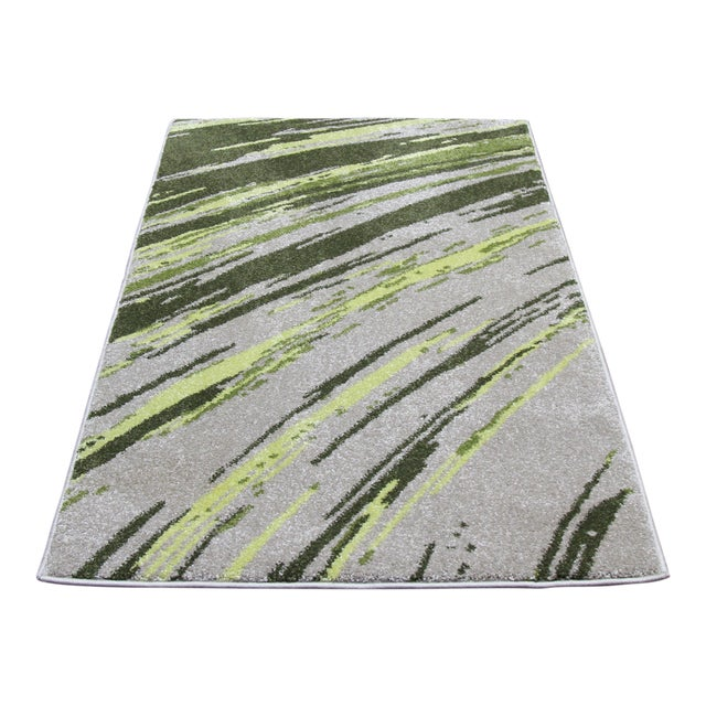 "Green Abstract Striped Rug - 2'8"" X 5' - Image 1 of 3"