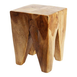 Teak Root Square Stool For Sale