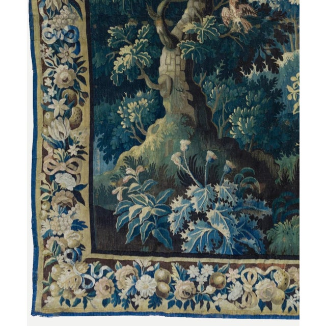 Antique Square 17th Century Flemish Verdure Landscape with Birds Tapestry For Sale - Image 4 of 10