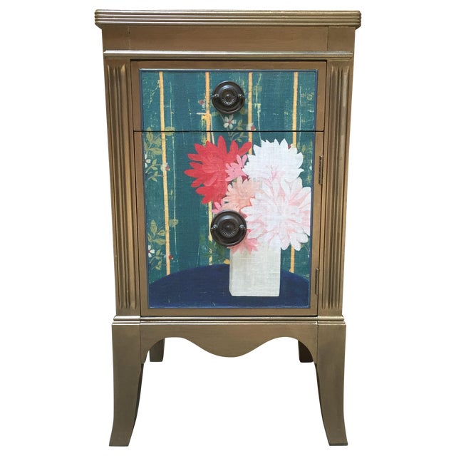 Metallic Gold Nightstand With Floral Linen Panel For Sale