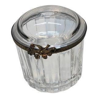 1940s Vintage Crystal Lidded Hinged Ormolu Box For Sale