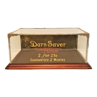 Rare Small Vintage Advertising Glass Tabletop Display Case For Sale