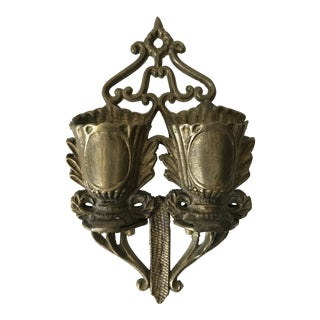 Brass Double Urn Neoclassical Styler Match Holder For Sale