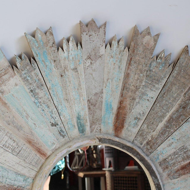 Reclaimed wood sunburst mirror chairish Where can i buy reclaimed wood near me