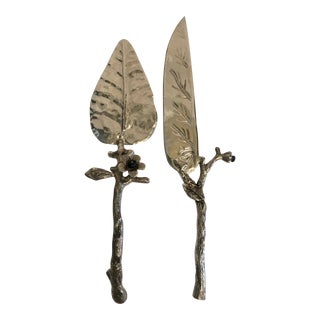 Faux Branch/Glass Flowers Cake Servers For Sale