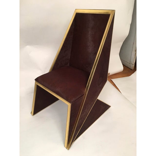 Two Toned Hide Dinning Chair by MarGian Studio For Sale - Image 9 of 11