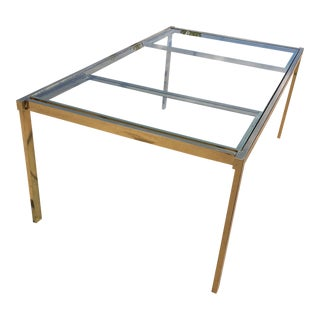 Pierre Cardin Style Folding Brass Glass Dining Table