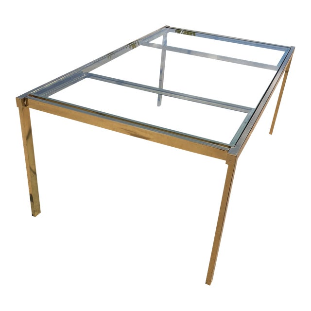 Pierre Cardin Style Folding Brass Glass Dining Table For Sale