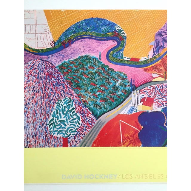 "David Hockney Rare 1980 David Hockney Original Collotype Print Poster "" Mulholland Drive "" For Sale - Image 4 of 11"
