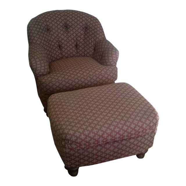 Lineage Home Burgundy Chair & Ottoman - A Pair - Image 1 of 5