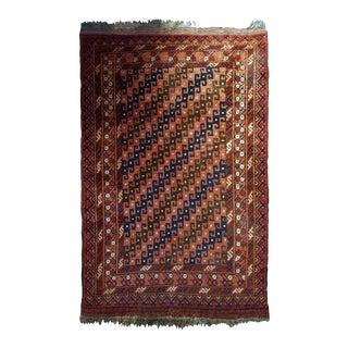 1920s handmade antique Afghan Baluch rug 2.7' x 4.8' For Sale