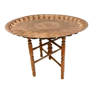 Moroccan Polished Copper Tray Table For Sale