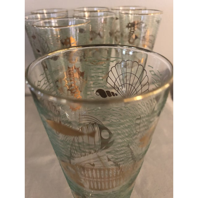 """1950s Mid-Century Libbey """"Marine Life"""" Pilsner Flutes - Set of 8 For Sale In New Orleans - Image 6 of 7"""