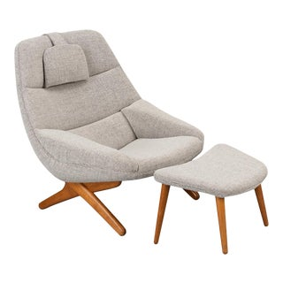 Danish ML-91 Reupholstered Lounge Chair with Ottoman by Illum Wikkelsø, 1960s - Set of 2 For Sale