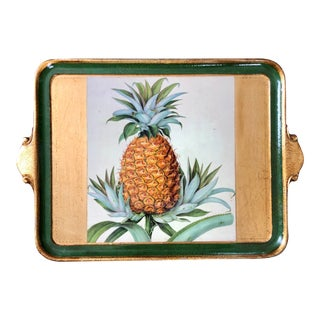 Vintage Green Florentine Pineapple Tray For Sale