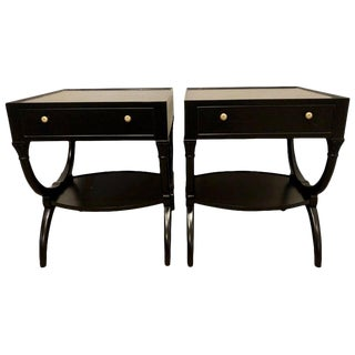 Pair of Hollywood Regency Ebony Night Tables, End or Side Tables, Single Drawer For Sale